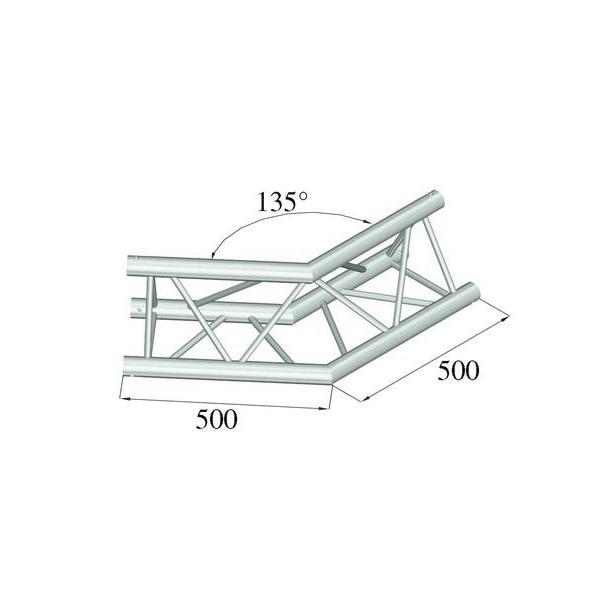 ALUTRUSS TRILOCK 2-tie kulmapala 135° 6082AC-23 kolmiputkinen pikalukittava trussi, ulkomitat 290 x 290 x 290 mm sekä paino 4,4kg.