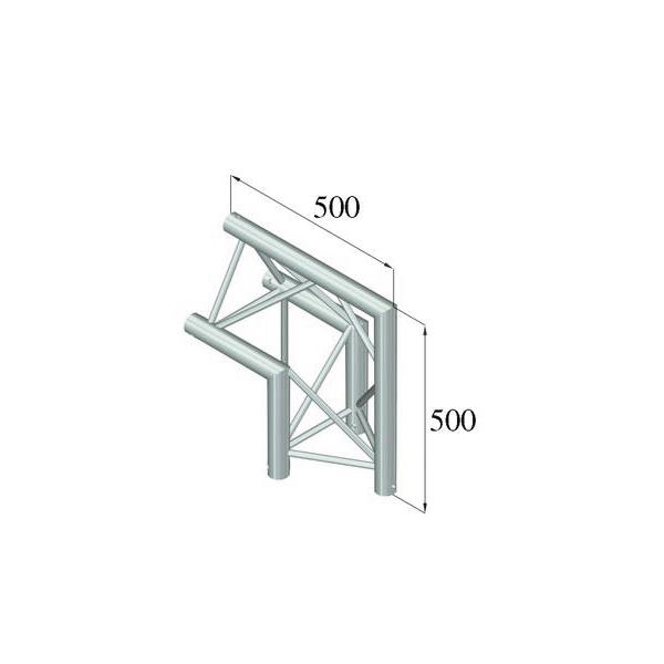 ALUTRUSS TRILOCK 2-tie kulmapala 90° /\ 6082AC-24 kolmiputkinen pikalukittava trussi, ulkomitat 290 x 290 x 290 mm sekä paino 3,8kg.