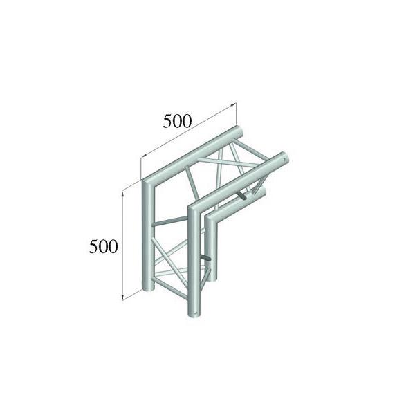 ALUTRUSS TRILOCK 2-tie kulmapala 90° \/ 6082AC-25 kolmiputkinen pikalukittava trussi, ulkomitat 290 x 290 x 290 mm sekä paino 4,5kg.