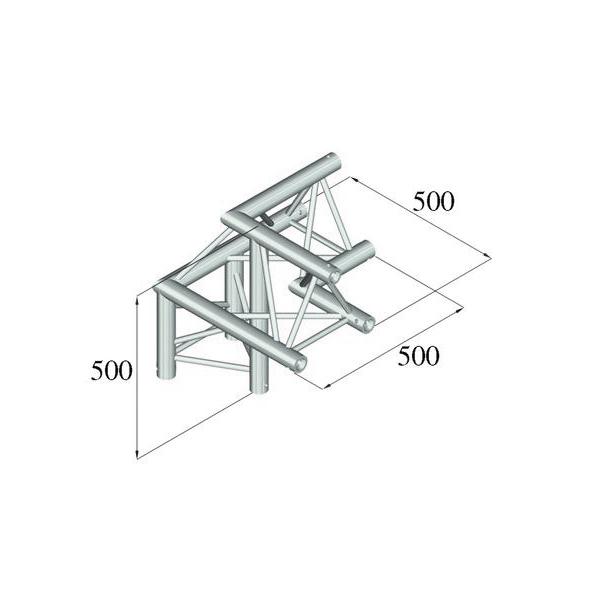 ALUTRUSS TRILOCK 3-tie kulmapala /\ oikea 6082AL-31 kolmiputkinen pikalukittava trussi, ulkomitat 290 x 290 x 290 mm sekä paino 6,1kg.