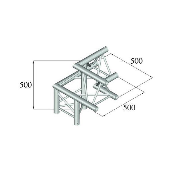 ALUTRUSS TRILOCK 3-tie kulmapala /\ vasen 6082AL-32 kolmiputkinen pikalukittava trussi, ulkomitat 290 x 290 x 290 mm sekä paino 6,3kg.