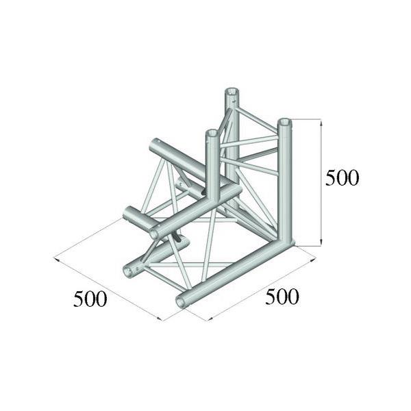 ALUTRUSS TRILOCK 3-tie kulmapala \/ oikea 6082AL-33 kolmiputkinen pikalukittava trussi, ulkomitat 290 x 290 x 290 mm sekä paino 6,4kg.