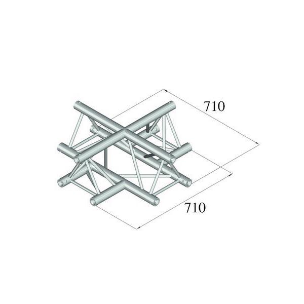 ALUTRUSS TRILOCK 4-tie risteyspala 6082AC-41 kolmiputkinen pikalukittava trussi, ulkomitat 290 x 290 x 290 mm sekä paino 8,8kg.