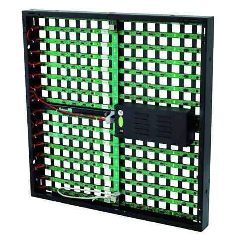 EUROLITE LED Pixel Mesh 64 x 64 video paneeli Modulaarinen LED-videopaneeli sisäkäyttöön. Valovoimainen, vahvat RGB-värit, ja voidaan linkittää useampia yhteen. Soveltuu moneen käyttöön, video- ja kuvanäytöksi, kuin myös sisutus- ja valaistusefektisi. Katseluetäisyys jopa 40m. Asennus helppoa ja yksikertaista. Virrankulutus 75W. Moduulin resolutio leveys x korkeus 16 x 16 pixeliä. Pikselitiheys 40mm. Pikselimäärä 625/m². Kirkkaus 1300 cd/m². Katselukulma 120°. Kankaan leveys ja korkeus 600 x 600 x 65mm. Paino 8.5 kg/m²