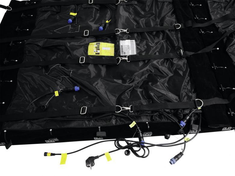 EUROLITE LED-Verho LSD-50E MK2 IP44 korkeus 2,4m x leveys 1,6m. Pehmeä ja joustava LED-verho tricolor RGB SMD 3528 LEDeillä. Erittäin valovoimainen, vahvat värit, voidaan linkittää useampia yhteen. Soveltuu moneen käyttöön, video- ja kuvanäytöksi, kuin myös sisutus- ja valaistusefektisi. Helppo kuljettaa, menee pieneen tilaa. Asennus helppoa ja yksikertaista, myös valmiit trussilenkit. Saatavina eri kokoisina, myös räätälöityjä versiota. Virrankulutus 10W/m². Resolutio leveys x korkeus 32 x 48 pixeliä. Pikselitiheys 50mm. Pikselimäärä 400/m². Näytön resoluutio max. 1280 x 1024 (LED Studio) tai max. 1024 x 896 (LED Show T9). Kirkkaus 150 cd/m². Katselukulma 120°. Kankaan leveys ja korkeus 1600 x 2400mm. Paino 2.5 kg/m²