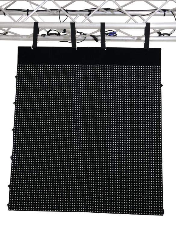 EUROLITE LSD-25MK2  Taipuisa LED-paneeli, jolla voit näyttää videoita ja muodostaa upeita näyttö ja valaistus kokonaisuuksia, saadaan useissa eri mitoissa, voidaan kytkeä useita yhteen.Flexible LED display panel 1,6m x 1,2m IP44