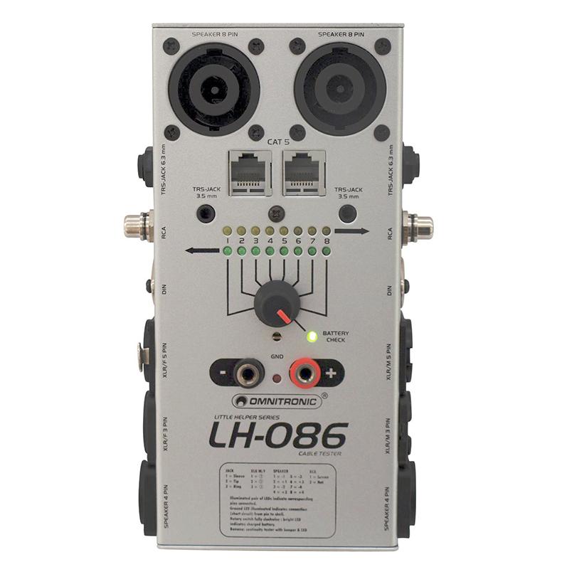 OMNITRONIC LH-086 Kaapelitesteri showtekniseen käyttöön. Sopii liittimiin XLR 3- ja 5-napainen, DIN, CAT5, RCA, Jack Plug 6,3mm ja Jack Plug 3,5mm (myös stereoliittimet) ja Speakon 4- ja 8-napainen