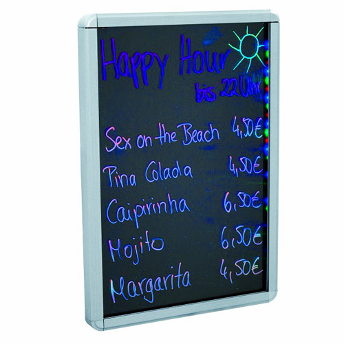 DECO LED lightboard A4 297 x 210mm aluminum, Eye catching LED advertising board you can label yourself, Valaistu LED-