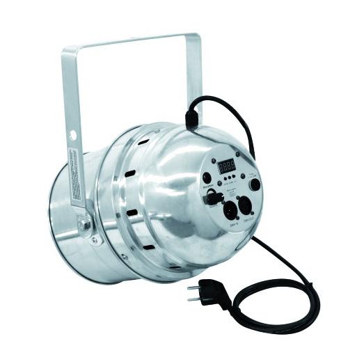 EUROLITE LED PAR-64 RGB DMX-ohjattava LED-heitin 5-kanavaa, RGB multivärit miksattavissa, Automatiikalla voi säätää värien feidaus aikaa, Sisäänrakennettu mikrofoni, Master ja slave toiminne yhdenmukaiseen vaihtoon! LED Spot short 36x 1W 22° 90W alu, Professional LED spot in LED DMX format!