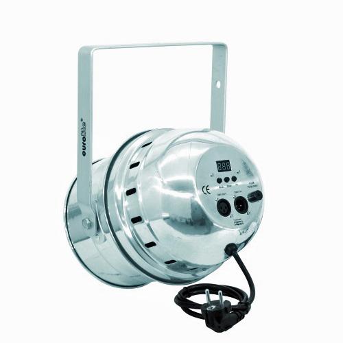 EUROLITE LED PAR-64 177 x 10mm RGBA 36° LEDiä DMX-ohjattava LED-PAR-valaisin 5-kanavaa, RGBA-multivärit miksattavissa, myös oranssi. Automatiikalla voi säätää värien feidausaikaa, sisäänrakennettu mikrofoni, master/slave