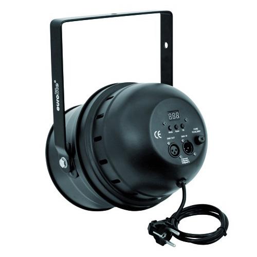 EUROLITE LED PAR-64 RGBA DMX-ohjattava LED-heitin 5-kanavaa, RGB multivärit miksattavissa, myös oranssi, Automatiikalla voi säätää värien feidaus aikaan, Sisäänrakennettu mikrofoni, Master ja slave toiminne yhdenmukaiseen vaihtoon! LED Spot 177x 10mm LEDs 36°, 27W, black, Professional Spot as LED DMX model! RGBA= Red, Green, Blue & Amber!
