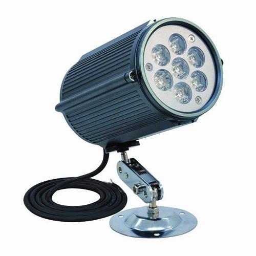 EUROLITE LED Seinävalaisin 7W  IP64. Valkoinen 6400K kiinteään asennukseen!LED Wall-Spotlight 12V 7x 1W LEDs 6400K IP64