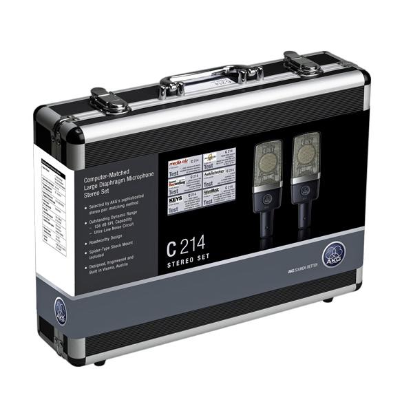 AKG C214 Stereo Set, Factory-matched pair of large diaphragm microphones, Tehtaalla tietokonviritettynä stereoparina isokalvoinen 1