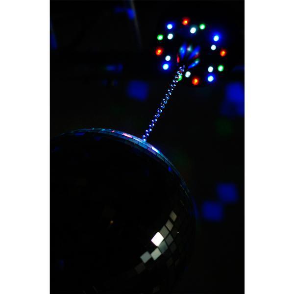 BEAMZ MB-LED Paristo Peilipallon Moottori 18 LEDillä, Battery Mirrorball Motor with 18 LED! sis. paristot + automaatti sekä musiikkiohjaus. Tarvitset vain peilipallon, jotta saat aikaiseksi valoshown! Nopeus 4- kierrosta minuutissa, vaatii 3kpl AA paristoja, paino 200gr.