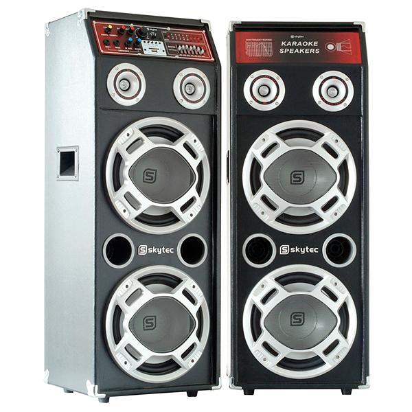 SKYTEC SPLED600 LED Disco 8-2, Aktiivikaiutinsetti(pari) 300W päätevahvistimella, 2x 8