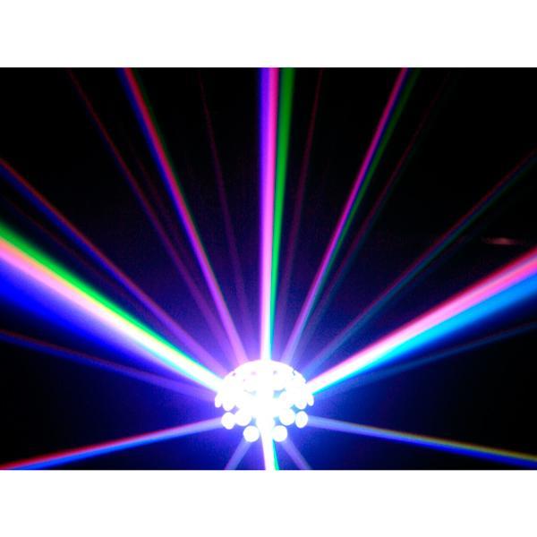 BEAMZ FB-1 3W LED Peilipalloefekti monivärinen 7 kierrosta/min, Big Fireball Lamp Multicolour LED 3W! Upea peilipallon vaihtoehdoksi suunniteltu valoefekti. Laitteen sisällä on tehokas 3W kirkas eli valkoinen LED. Pinnassa moniväriset linssit, joiden läpi valonsäteet tulevat kapeina keiloina, muodostaen upean valoefektikimpun. Laite voidaan asentaa tasolle, seiniin tai Kattoon! Mitat 205 x 209 x 180mm ja paino 1.3kg.