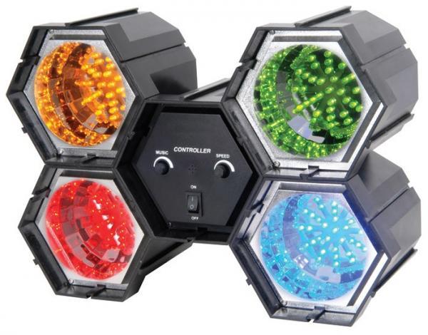 BEAMZ LED-4 on 4-kanavainen LED-valourku neljällä värillä. Hauska valourku kotiin tai firman bileisiin, laite on helppo käyttöön ja portaattomalla musiikkiohjauksen säädöllä saat valot vilkkumaan musiikin tahtiin jokaisessa tilanteessa. Setti on kasattu moduuleista, joten lamput on helppoa irroittaa toisistaan ja suunnata sen jälkeen haluamaansa kohteisiin. Mitat 350 x 240 x 140mm ja paino 1.9kg.