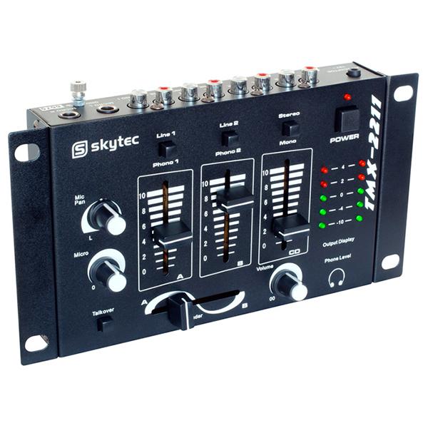 SKYTEC STM-2211B DJ-Mikseri 4-kanavaa, musta  4-kanavainen vaihtokytkimellä mikseri soveltuu loistavasti kotikäyttöön sekä satunnaisesti keikkailevalle tiskijukalle tai vaikkapa Pub käyttöön, kun on vain muutama ohjelmalähde!  Phono ja line. Mitat 55 x 230 x 131mm sekä paino 1,1kg.