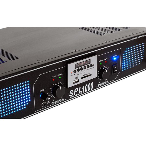 SKYTEC SPL 1000MP3 Amplifier blue LED, Päätevahvistin 2x 500W 4ohmia USB/SD-korttipaikka, kauko-ohjain
