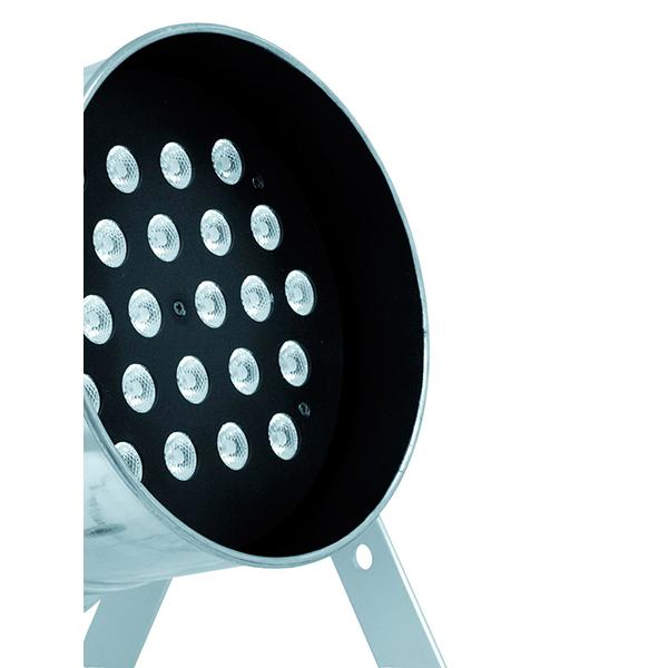 EUROLITE LED PAR-64 RGB Spot Short with 24x 5W LEDs, 22°, Floor silver. LED-valoheitin 24x 5W:n LEDeillä, Lattiamalli alumiini, Tehokas!