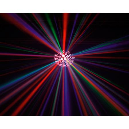 EUROLITE LED B-18 Beam effect 8x 3W, Mirror ball effect with 8-fold RGBAWPYUV color mixture. Näyttävä peilipalloefekti ääniohjauksella tai DMX-ohjauksella, 20 kierrosta/min, 55 linssiä.mitat 250 x 250 x 260 mm sekä paino 3kg.Nyt saavutat ledeillä suunnatonta etua, ei pelkästään vain energian kulutuksessa vaan myös värien määrässä! 5x 3W ledit viidellä eri värillä takaavat sinulle uskomattoman valoshown! Punainen, Vihreä, Sininen, Oranssi sekä Valkoinen, pinkki, Keltainen+ UV.