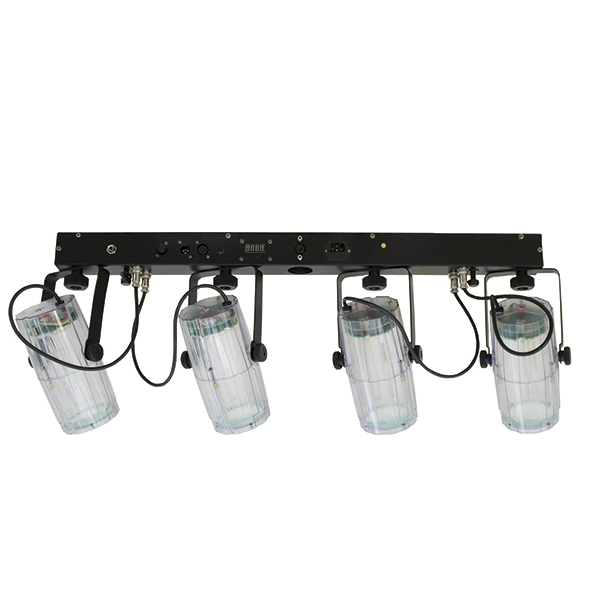 EUROLITE LED QDF-Bar RGBW TC light set, DMX LED spotlight set with 4 transparent spots. Upea ja erilainen LED-valosetti läpinäkyvillä spoteilla ja kuljetuspussilla.