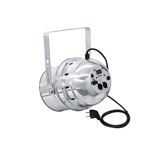 EUROLITE LED PAR-64 W/A LED-valonheitin valkoisilla LEDeillä 36x 1W LEDiä 22°, 18x lämmin valkoinen ja 18x kylmä valkoinen, värilämpötila portaattomasti säädettävissä! Valaisimen väri alu. Professional LED spot in LED DMX format.