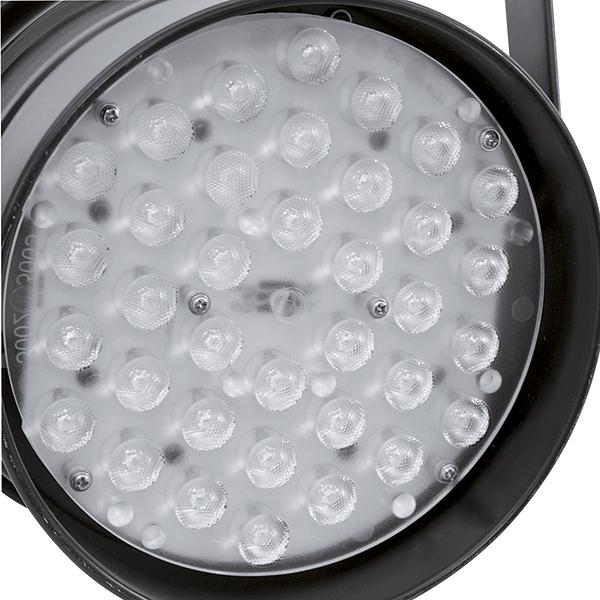EUROLITE LED PAR-64 valonheitin W/A. LED-valonheitin valkoisilla LEDeillä 36x 1W LEDiä 22°, 18x lämmin valkoinen ja 18x kylmä valkoinen, värilämpötila portaattomasti säädettävissä! Valaisimen väri musta. Professional LED spot in LED DMX format.