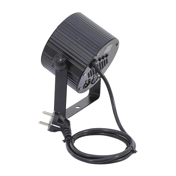 EUROLITE LED PS-4 TCL 4x 3W LEDeillä pieni spotti 15°, voidaan ohjata DMX-ohjaimella. Mitat 90 x 160 x 170 mm sekä paino 1,0kg.