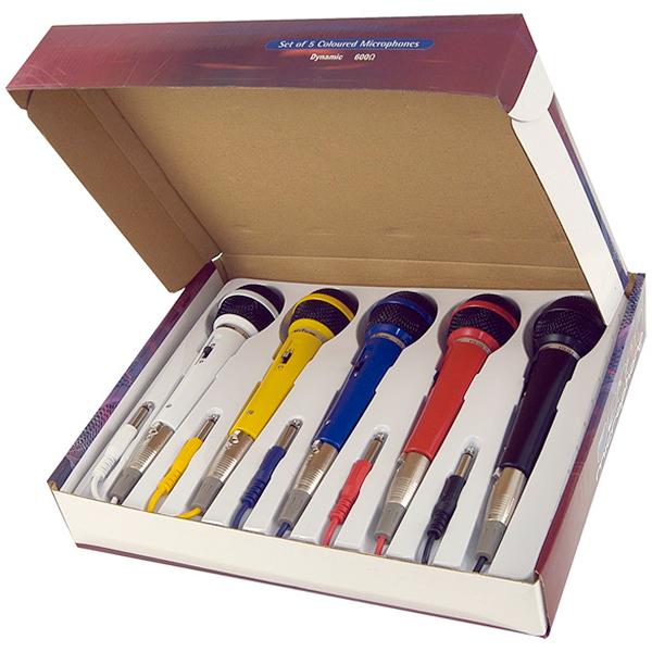 FENTON DM120 Mikrofonisetti sisältää 5kpl mikrofoneja. Eri väristä mikrofonia plugi kaapelilla 600 Ohm/ XLR-6,3mm jack plug. Mic set.