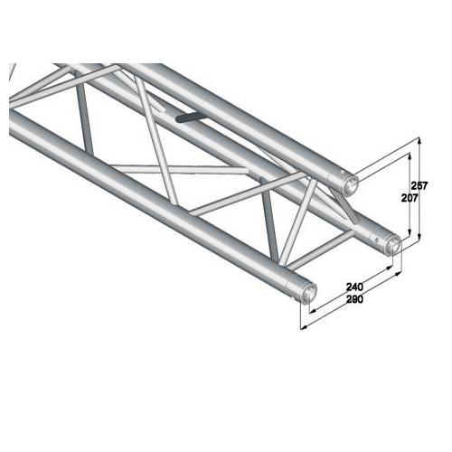 ALUTRUSS TRILOCK trussi E-GL33 2500. Straight 3-point truss 2500mm