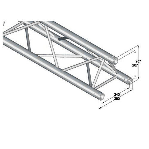 ALUTRUSS TRILOCK trussi E-GL33 4000 suora 3-piste trussi 50mm putkella. 3-point truss 4000mm