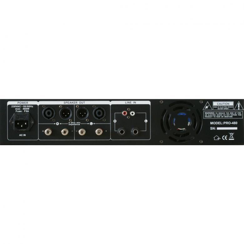 SKYTEC  SKY-480B vahvistin 2x 240W musta Mosfet-päätevahvistin 4?, Tehokas harrasteluokan päätevahvistin, eli tehoa kohtuu hintaan! Elektroninen suojaus, 19