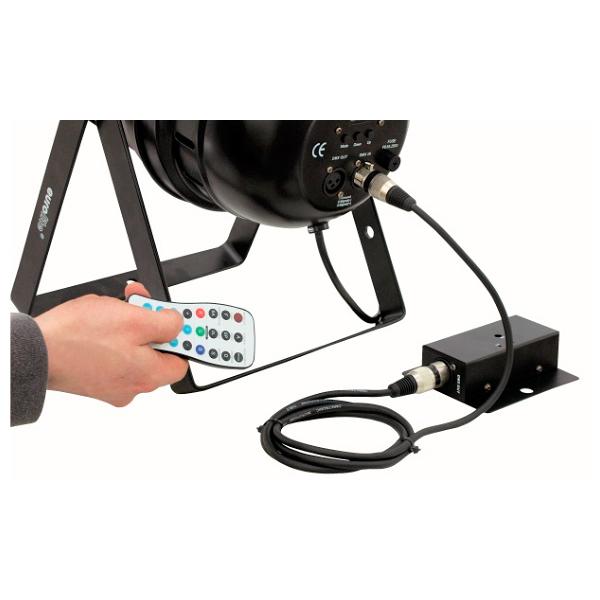 EUROLITE DMX LED Operator IR2DMX LED-valo-ohjain infrapunavastaanottimella DMX-ulostulolla ja IR-kauko-ohjain. Tällä voit ohjata useita DMX valonheittimiä langattomasti. Kuten led par 56 led par 64 sekä eurolite KLS setit.