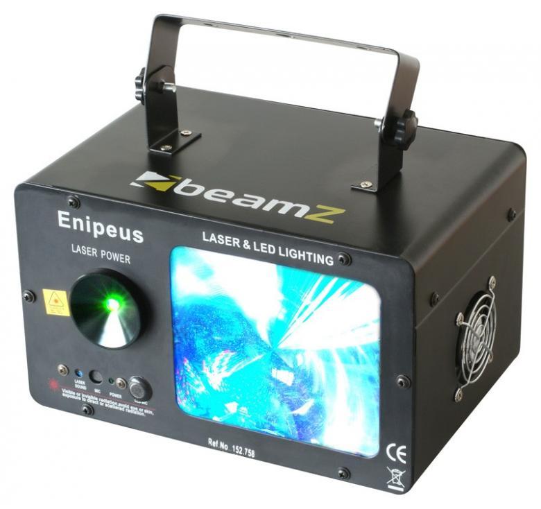 BEAMZ Enipeus LED laserefekti strobolla. Huoneen täyttävä näyttävä efekti, laserilla ja LEDeillä. 2 Laseria, vihreä 100mW ja punainen 180mW sekä 162 LEDiä takaavat valotehon. Automaattinen ja musiikkiohjattu toiminta sisäänrakennetulla mikrofonilla. Voidaan linkittää master/slave-toiminnolla. Soveltuu discoihin, clubeille, baareihin, perhejuhliin. Mitat 350 x 250 x 230mm sekä paino 3.2kg.