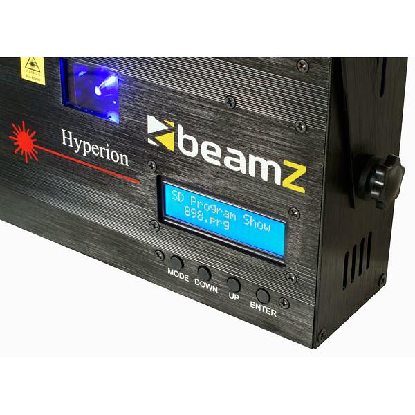 BEAMZ Hyperion animaatio Laser sininen DMX SD. Valmiina 128 sädekuvioa ja graaffista kuvioa. Pystyt myös tekemään omat animaatiot, grafiikat, tekstit jne. 450mW DMX lasersäteen väri sininen. - Luokka 3B