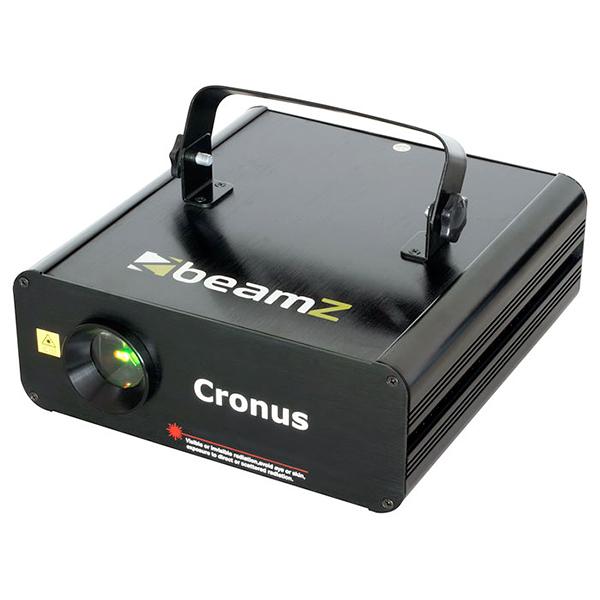 BEAMZ Cronus animaatio Laser RGY DMX SD. Näyttävä kolmen värin animaatio laser SD-korttilukijalla. Punainen laser 120mW, vihreä 240mW ja keltainen(miksattu säde). Pystyt tekemään omat animaatio, grafiikat, tekstit. Luokka 3B  Kolmivärinen laser, punainen 120mW, vihreä 240mW ja keltainen(miksattu säde) Nopea optinen skanneri Valmiina 128 sädekuvioa ja graaffista kuvioa Pystyt tekemään omat animaatio, grafiikat, tekstit jne. Paljon ohjelmoitavia toimintoja Mukana 2GB SD-kortti ja softa. DMX ohjattava