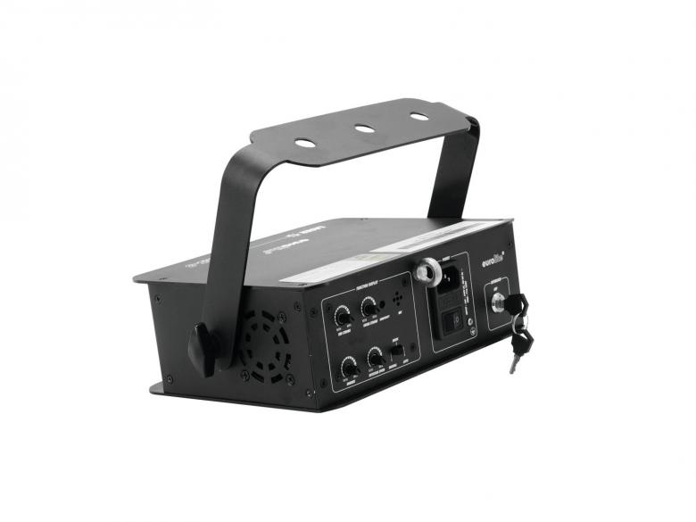 EUROLITE LED MS-3 PolarLaser Upea laserefekti sinisellä LEDillä. Laser punainen 100mW, vihreä 40mW ja LED 5W. Laserin turvallisuusluokka. Laite on käyttövalmis, vain pistoke seinään ja voit nauttia mahtavista visuaalisista show:sta. Laserin näkyvyyttä voi helposti korostaa käyttämällä savukonetta. Laitteen perästä löytyy ohjaustoimintoja, kuten musiikkiohjaus, automatiikka sekä manuaalinenohjaus. Mitat 260 x 200 x 180 mm sekä paino 1,7kg.
