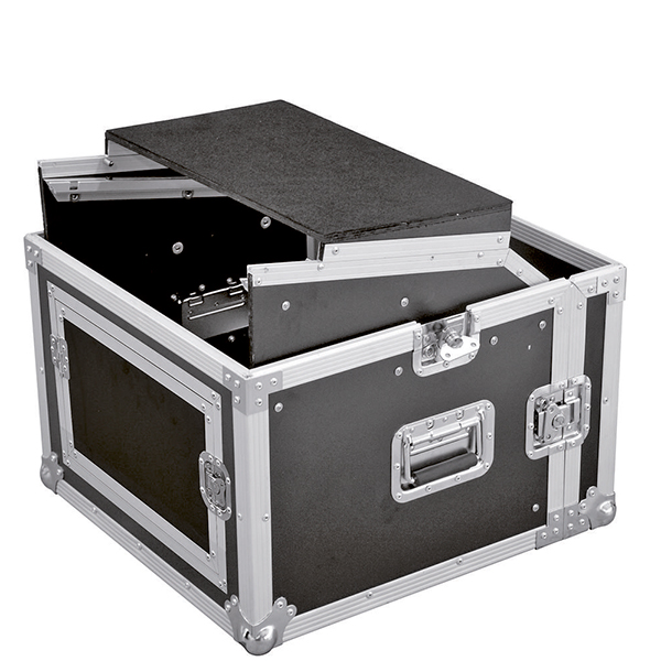 ROADINGER Kuljetuslaatikko Laptop-telineellä. Special combo case LS5 laptop desk 8U. Professional flight case for 483 mm units (19
