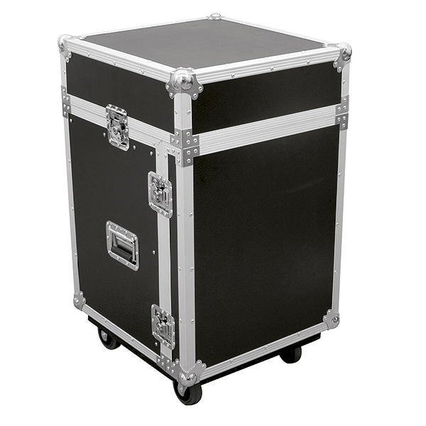 OMNITRONIC Kuljetuslaatikko Laptop-telineellä. Special combo case LS5 laptop desk 14U. Professional flight case for 483 mm units (19