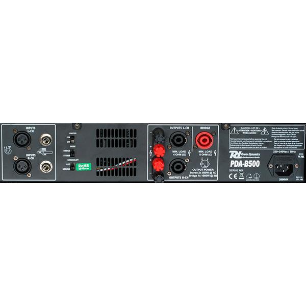 POWERDYNAMICS PDA-B500 Päätevahvistin 2x250W 4ohm  Professional Amplifier 2x 250W 4ohms! Powerdynamics on hollantilainen ammattitasoisiin audiolaitteisiin keskittynyt valmistaja. Nyt saatavilla laadukkaat vahvistimet sopuhintaan kaupastamme.   PDA sarja sisältää tällä hetkellä neljä eri tehoista päätevahvistinta 500W, 1000W, 1500 sekä 2000W. Tehokkaimmat 1500W ja 2000W mallit toimivat myös 2 ohm kuormalla! Kaikki mallit ovat sillastettavia tai stereo modessa toimivia. LCD näytöstä näet koko ajan toiminteet, tehon käyttö, lämpötila sekä käytön tila esim. Bridge. Erittäin laadukas konstruktio ammattikäyttöön!