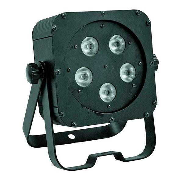 EUROLITE LED SLS-5 Floor 5x 5W QCL LEDiä (4in1 quadcolor RGBW) 40°, LED-näyttö menu takapaneelissa, staattiset värit, RGBW-värisekoitukset, sisäänrakennetut valmiit ohjelmat, himmennin, strobe-efekti, ääniohjaus, DMX-ohjaus tai stand-alone, master/slave. Todella tehokas ja ohut LED-spotti, joka voidaan asettaa lähes mihin vaan, esim. kattoon, seinään, lattialle, ständiin, trussiin. Mitat 230 x 110 x 270mm sekä paino 3,0kg.