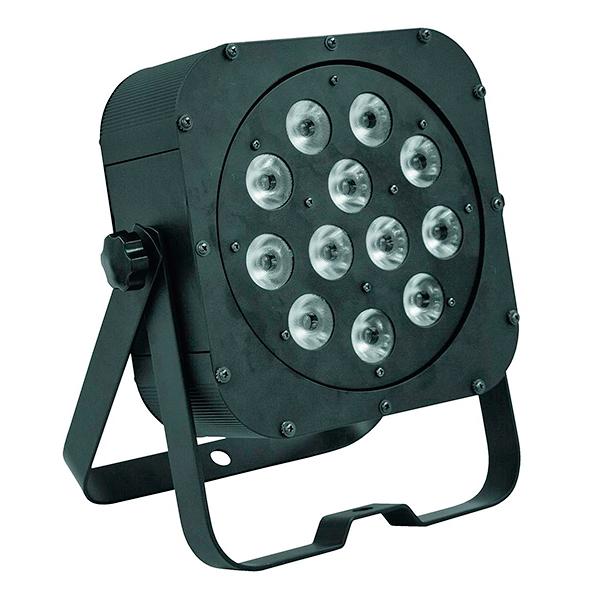 EUROLITE LED SLS-12 12x 5W QCL litteä spotti neliväri ledeillä LEDiä (4in1 quadcolor RGBW) 25°, LED-näyttömenu takapaneelissa, staattiset värit, RGBW-värisekoitukset, sisäänrakennetut valmiit ohjelmat, himmennin, strobe-efekti, ääniohjaus, DMX-ohjaus tai stand-alone, master/slave.