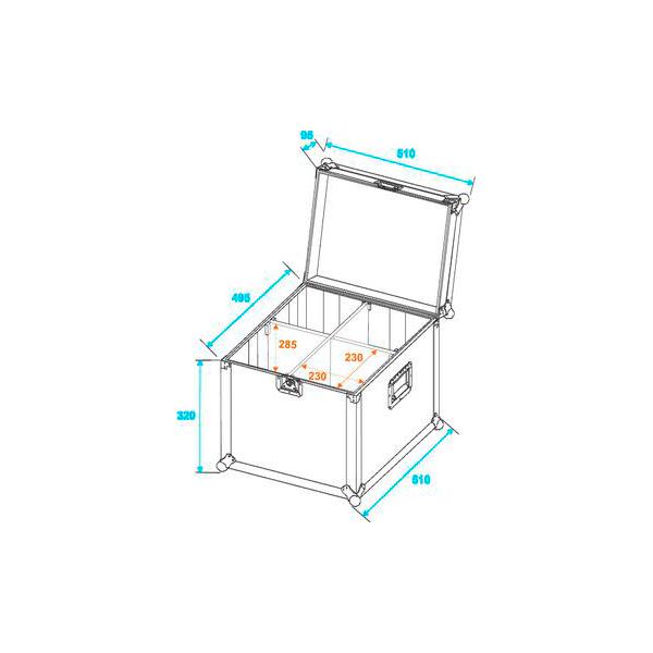 ROADINGER Kuljetuslaatikko neljälle lyhyelle PAR-64 valoheittimelle. Yksittäisen heittimet kotelon koko 235 x 235 x 380 mm sekä koko laatikon koko ulkoa 510 x 510 x 415 mm sekä paino 10kg.