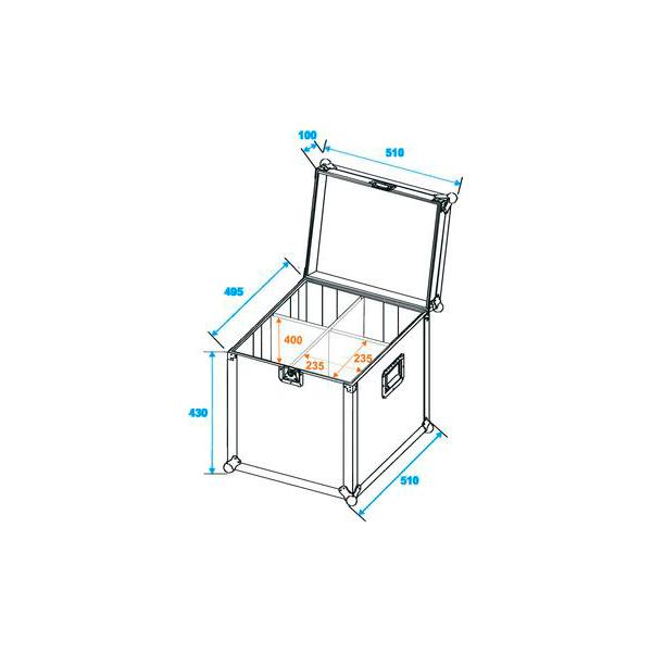 OMNITRONIC Kuljetuslaatikko neljälle pitkälle tai lyhyelle PAR-64 valoheittimelle. Flightcase for 4x PAR-64 spot, long. Practical flightcase for PAR-64 spots
