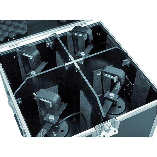 ROADINGER Kuljetuslaatikko neljälle pitkälle PAR-56 valoheittimelle, joissa on ripustuskoukku, eli laatikossa hiukan enemmän tilaa.