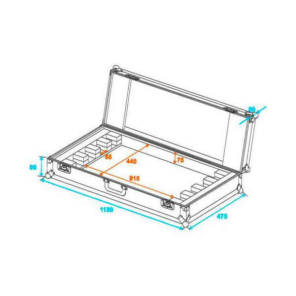 OMNITRONIC Kuljetuslaatikko neljälle LED-palkille. Flightcase for 4x LED BAR-252 RGB