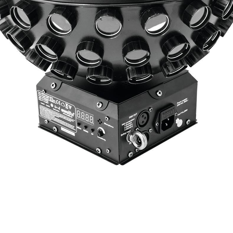 EUROLITE B-40 LED siili peilipallo valoefekti 5x 4W TLC LEDit. pallossa on 125 linssiä, joista kapeat säteet tulevat siilin piikkien lailla. Maksimissaan 14- kierrosta minuutissa. Ohjattavissa DMX kautta, musiikin mukaan säädettävällä mikrofonin herkkyydellä. Laitteessa on myös sisäänrakennettuja ohjelmia automaatti käyttöä varten. Tuote soveltuu katto tai taso asennukseen, ei saa asentaa seinään. Mitat 320 x 320 x 380 mm sekä paino 3,0kg.
