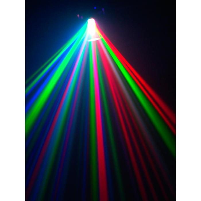 EUROLITE LED MFS-100 Flower-efekti RGBAW-väreillä 5x 3W LEDit, moottoroidulla peilillä, DMX-ohjaus, stand alone, musiikkiohjaus sisäänrakennetulla mikrofonilla. RGBAW flower effect with mirror and 3W LEDs.