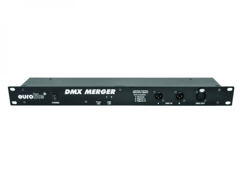 EUROLITE MERGER DMX-yhdistäjä, sisään 2x XLR 3-pin plug, ulos 1x XLR 3-pin connector. DMX Merger